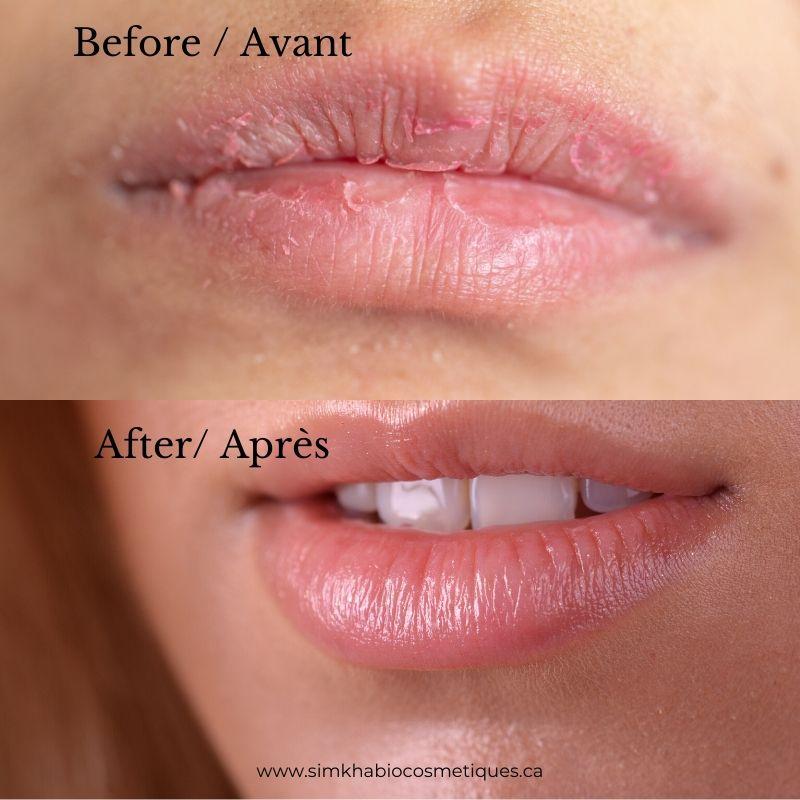 exfoliant à lèvre avant après