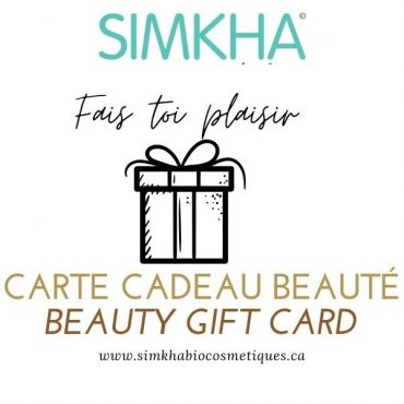 carte cadeau en ligne avec message personnalisé de SIMKHA Bio cosmétiques 25$ - 250$