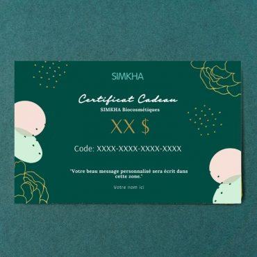 Carte cadeau personnalisable SIMKHA Bio Cosmétiques www.simkhabiocosmetiques.ca