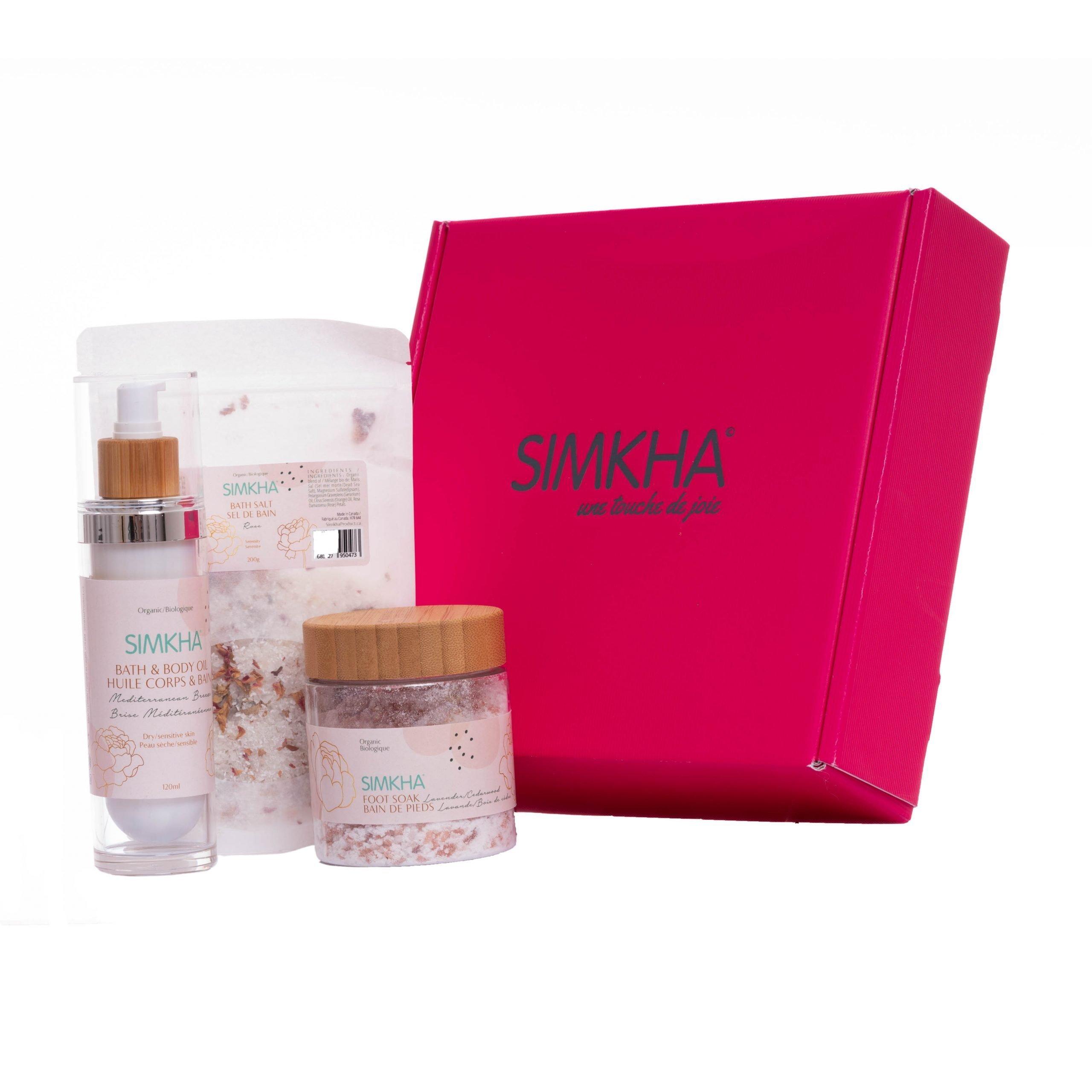 Coffret bain bio femme SIMKHA huile de massage, sel de bain et bain de pieds boîte cadeau