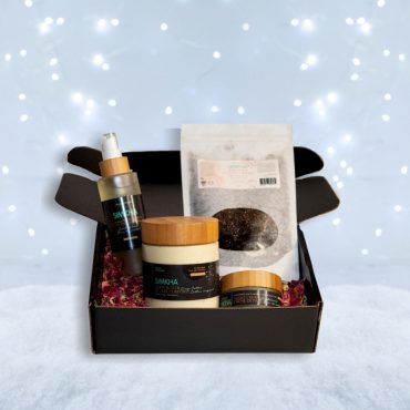 A men gift basket to offer for Christmas with body care made in Quebec, vegan, eco-responsible, not tested on animals and scents of coffee, by Simkha