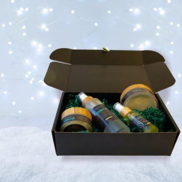 ultime routine de soin pour homme coffret de produits simkha présentés dans une boite cadeau noire