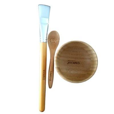 Kit de mélange en bambou pour masques: Bol à mélanger + spatule + pinceau